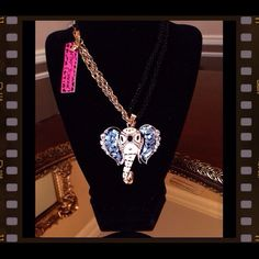 """BETSEY JOHNSON Elephant Necklace Betsey Johnson Crystal Shell Enamel and Rhinestone Elephant Head Pendant. Both beaded and chain, chain In gold casting. Necklace measures at 30"""" in length. Pendant 2"""" length by 2.5"""" width. PRICE FIRM UNLESS BUNDLED. Betsey Johnson Jewelry Necklaces"""