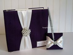 Wedding Guest Book and Pen Set  Custom Made by LaceyClaireDesigns, $88.00