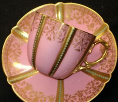Aynsley Jewel Gold Pink Old Tea Cup and Saucer Tea Cup Saucer, Tea Cups, 5 O Clock Tea, Afternoon Delight, Afternoon Tea, Teapots And Cups, My Cup Of Tea, Chocolate Pots, China Patterns