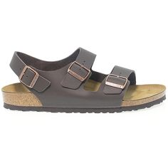 Birkenstock Flat Sandals ($92) ❤ liked on Polyvore featuring shoes, sandals, brown flat sandals, leather strap sandals, brown leather shoes, buckle sandals and strappy leather sandals