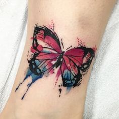 Resultado de imagem para tattoo em aquarela borboleta