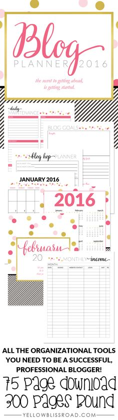 2016 Blog Planner - all the tools you need to stay organized as a successful professional blogger