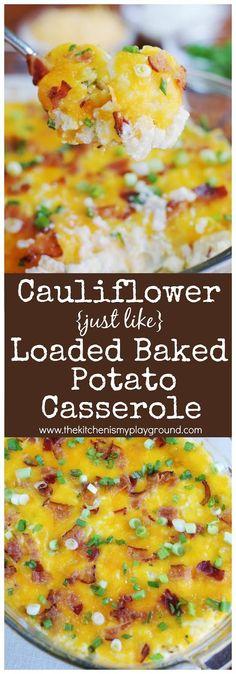 Cauliflower {Just Like} Loaded Baked Potato Casserole Loaded - cheddar käse aldi