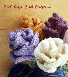 PDF Knit Flower Pattern  Rose Bud by OhmayDIY on Etsy, $6.00