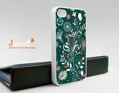 iphone case iphone 4s case iphone 4 cover sweet tree and bird green style colorized flower unique Iphone case. $13.99, via Etsy.