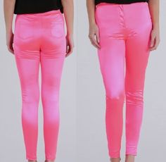 Ladies-Retro-Disco-Vintage-Look-Pink-Neon-Shiny-Straight-Jean-Look-Trousers-New