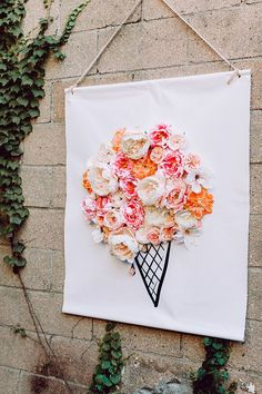 3D Illustrated Floral Backdrop DIY with silk flowers -  photo Clarence Chan  http://ruffledblog.com/3d-illustrated-floral-backdrop-diy