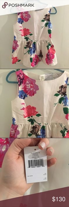 1 HR SALE NWT Kate Spade Floral Bloom Peplum Top Brand new adorable top from Kate Spade! So flattering on, just too small for me. kate spade Tops Blouses