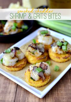 Smoked Cheddar Shrimp and Grits Bites are a bite-sized version of shrimp and grits. Perfect for tailgate parties!