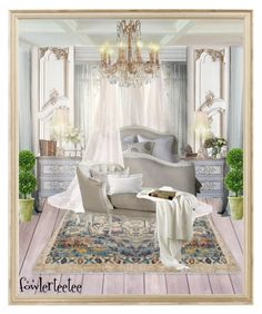 """Room For Royalty...by fowlerteetee"" by fowlerteetee ❤ liked on Polyvore featuring interior, interiors, interior design, home, home decor, interior decorating, Laura Ashley, Mills Floral Company and Rifle Paper Co"