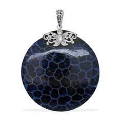 Liquidation Channel -  Affordable Royal Bali Collection Sponge Blue Coral Pendant without Chain in Sterling Silver Nickel Free TGW 32.00 Cts.