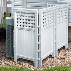 Resin Outdoor Privacy Screen - cover up the trash cans, or the air conditioner - comes in many finishes. $89.95