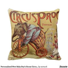 Personalized New Baby Boy's Room Circus Elephant Throw Pillow
