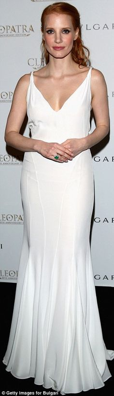 A vision in white: Jessica Chastain wore a slinky white low-cut gown to the Cleopatra cocktail party hosted by Bulgari during The 66th Annual Cannes Film Festival at the JW Marriott on Tuesday night in Cannes, France
