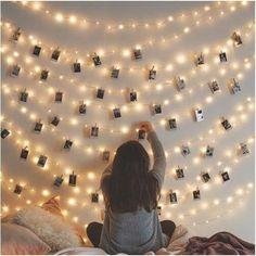 Cute Room Decor, Wall Decor, Hanging Photos, Hanging Artwork, Window Hanging, Aesthetic Room Decor, Aesthetic Photo, Bedroom Lighting, String Lights Bedroom