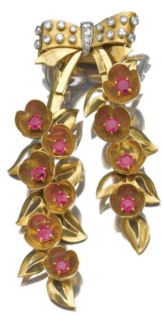 Gold, diamond and ruby brooch by Cartier, 1940's