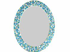 Oval Mosaic Mirror  Teal Lime Green Gray by GreenStreetMosaics, $150.00