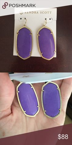Neon Violet Danielle's Kendra Scott Neon Violet Danielle's in EUC. No major marks or striations in the violet stone. Slight wear on prongs on one frame only. Willing to consider trades for other Kendra Scott Kendra Scott Jewelry Earrings