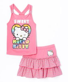 This Carmine Rose Hello Kitty Tank  Skirt - Toddler  Girls by Hello Kitty is perfect! #zulilyfinds