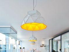 Wohnzimmerlampe Apollo Aus Edelstahl Gelbe Innenseite Design Von Romy Khne