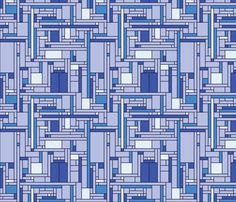 Mondrian Blue Box (blues) fabric by studiofibonacci on Spoonflower - custom fabric