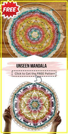 Crochet Dreamcatcher Pattern Free, Free Mandala Crochet Patterns, Granny Square Crochet Pattern, Crochet Squares, Crochet Motif, Free Crochet, Knitting Patterns, Thread Crochet, Crochet Yarn