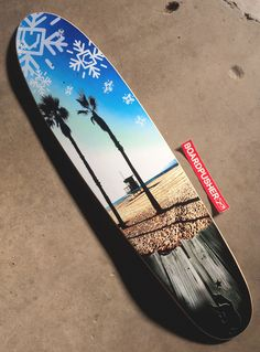 """This week's www.BoardPusher.com Featured Deck is a longboard with a photography design by Adam Soliz. """"I created it using my own photos from Venice, Ca where I live and obviously some clip art. I call the board 'Venice Sol'. Inspired by Venice beach, the cali sun (sol) and my friends who nicknamed me 'winter'."""" You can keep up with Adam by following him on Instagram adamsoliz."""