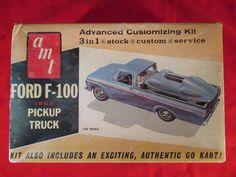 Vintage AMT Ford F-100 1963 Pickup Truck Model with Treamline Go kart #AMT