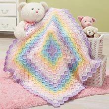 Herrschners® Pastel Rainbow Baby Blanket Crochet Afghan Kit