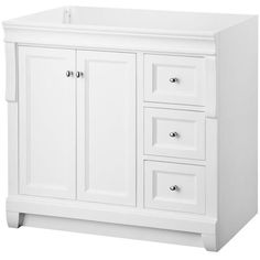 Foremost NAWA3621D Naples 36 X 21 Inch White Finish Vanity Cabinet Only  White   EFaucets.