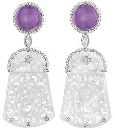 A Pair of Jadeite, Amethyst, and Diamond Ear Pendants by Margherita Burgener. (Via Phillips.)