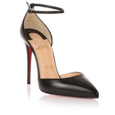 Christian Louboutin Uptown 100 Black Leather Pump (69400 DZD) ❤ liked on Polyvore featuring shoes, pumps, heels, louboutin, sapatos, black, ankle strap pumps, black leather pumps, black pointy toe pumps and black pumps