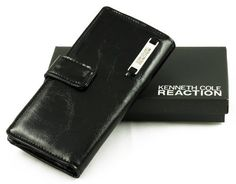 Kenneth Cole Reaction Classic Glazed Checkbook Cover Wallet Black Kenneth Cole. $19.99. Faux Leather. 1 Outer Zipper Pocket, 4 Large Interior Pockets and 4 Credit Card pockets. MSRP %40.00. Snap Closure