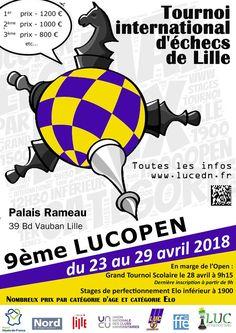 Participez au 9e Tournoi International d'#échecs du Lille Université Club Échiquier du Nord, du 23 au 29 avril prochain !