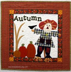 Autumn wall quilt autumn wall hanging scarecrow by twistedsticks,