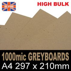 5 sheets x A4 Extra Thick Greyboard Project Crafting Card 1000 micron 1mm Thick