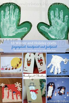 Here are 10 winter themed crafts for kids that use handprints and fingerprints. I've also included book and music suggestions so that you can have a multi-sensory activity.