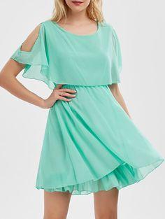 Ruffle Chiffon Cold Shoulder Mini Dress, LIGHT GREEN, M in Chiffon Dresses | DressLily.com