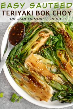 A super simple and delicious way to up your veggie intake! This Easy Sauteed Teriyaki Bok Choy recipe comes together in around and pairs well with seared salmon, shrimp, or grilled chicken! Guaranteed to be your new favorite, healthy side dish. Healthy Side Dishes, Vegetable Sides, Vegetable Side Dishes, Side Dish Recipes, Vegetable Recipes, Asian Recipes, Vegetarian Recipes, Dinner Recipes, Cooking Recipes