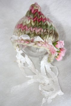 Newborn pixie bonnet hat knit photo prop with pink roses Baby Knitting Patterns, Loom Knitting, Crochet Patterns, One Skein Crochet, Crochet Baby, Newborn Hats, Baby Hats, Knitted Owl, Knitted Hats