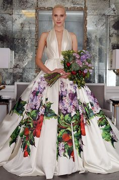How chic is the lavender Tuscan garden silk ball gown with matching bouquet! Romona Keveza Luxe Wedding Dress Collection, Fall 2016