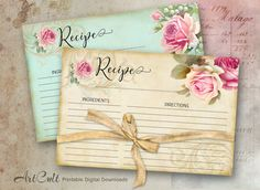 Printable Digital Download RECIPE CARDS Bridal Shower kitchen cook book collection shabby chic floral victorian scrap-booking paper, ArtCult