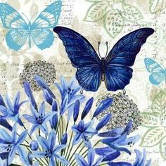 Blue Floral Study Embossed Paper Cocktail Napkin, 20 count Butterflies & hearts symbols the soul and change and love. this is a wonderful collage. Vintage Butterfly, Blue Butterfly, Decoupage Vintage, Vintage Paper, Paper Art, Paper Crafts, Butterfly Pictures, Embossed Paper, Paper Napkins
