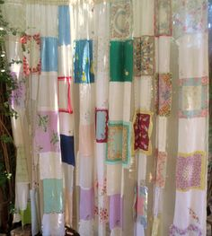 "Dreamy layers of beautiful cotton and lace vintage hankies on off-white sheer curtains. gypsy curtains are carefully sewn from new and vintage textile treasures.      two panels. Each panel measures 60"" wide by 84"" long. Rod pocket tops. Panels are not identical."