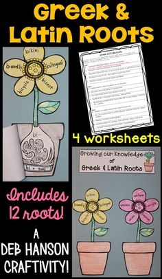 A Greek and Latin Roots craftivity! Students complete four Greek and Latin root worksheets and then assemble the flower craftivity!