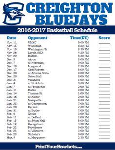 Creighton Bluejays 2016-2017 College Basketball Schedule