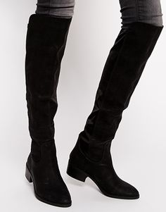 Enlarge London Rebel Black Microfibre Over Knee Boot | O T K ...