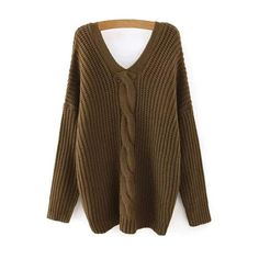 Cable Knit V Neck Sweater with Back Buttons (£27) ❤ liked on Polyvore featuring tops, sweaters, v neck cable knit sweater, cable sweater, brown tops, v neck cable sweater and brown sweater