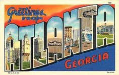 Atlanta Georgia GA 1936 Large Letter Greetings from Atlanta Vintage Postcard