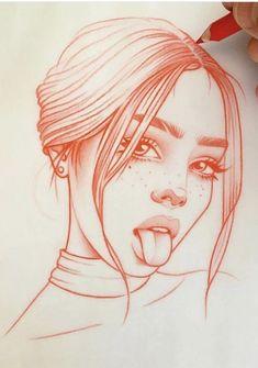 Schlag des Herzens: die Zeichnungen in Rot von Rik Lee - Zeichnungen - Drawing Tumblr Drawings, Pencil Art Drawings, Art Drawings Sketches, Sketch Art, Eye Sketch, Crazy Drawings, Sketch Paper, Girl Drawings, Realistic Drawings